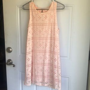 pink lacy shift dress